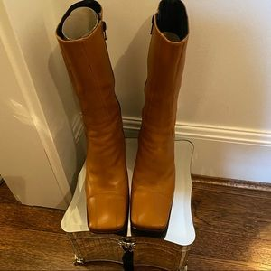 Charles David Mid Calf Tan Leather Boots Size 7